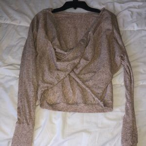 Dynamite brown knotted cropped long sleeve